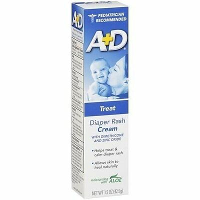 A + D Diaper Rash Cream Treatment with Aloe 1.5oz Each