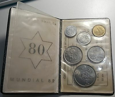 1980 Spain FIFA World Cup 1982 Mint Set BU Coins in official Wallet
