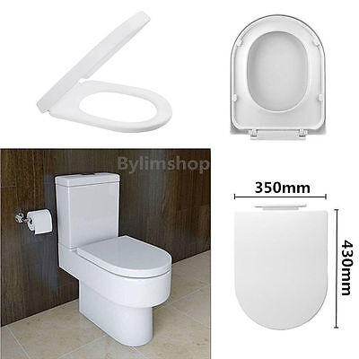 Luxury Soft Close Toilet Seat D-Shape White Slow Closing With Top Fixing Hinges