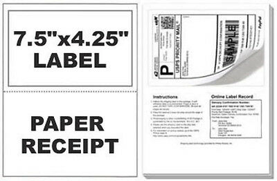 1000 Self Adhesive Mailing Shipping Labels W/ Tear Off Paper Receipt Paypal
