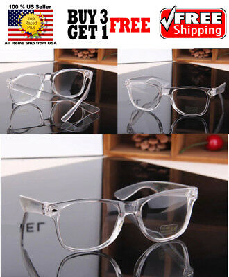 Clear Frame Classic Retro Vintage Designer Clear Lens Glasses Shades