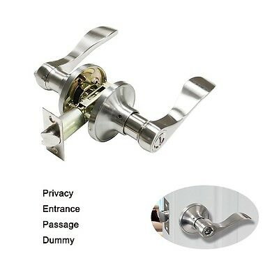 Modern Satin Nickel Door Handle Lock Set Entrance Passage Privacy Dummy For Home