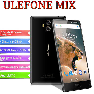 "Handy 4GB+64GB 13MP 2*SIM 5,5"" Ulefone MIX Android 7.0 Smartphone 8*CORE 1.5GHz"