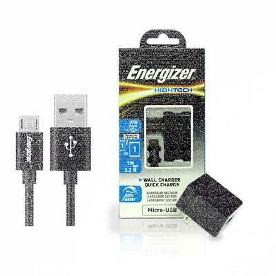 New Energizer HighTech Micro-USB 2 Port USB 2.4A Wall Charger- Black