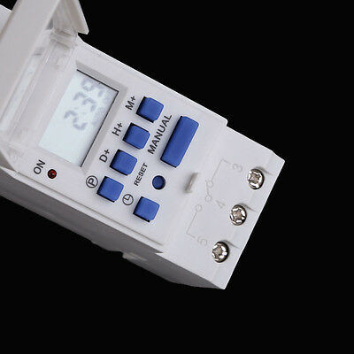 AC 220-250V Digital LCD Power Programmable DIN Timer Time Switch Relay 16A UK