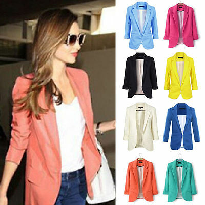 Fashion Casual Slim Solid Suit Blazer Coat Jacket Outwear Women Candy Color
