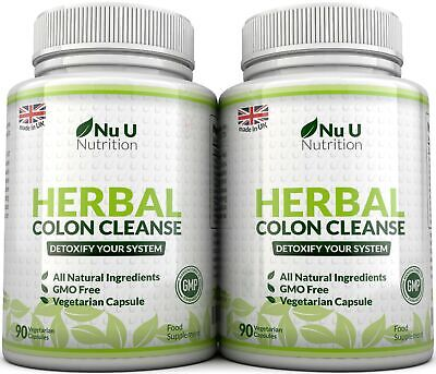 Nu U Herbal Colon Cleanse 90 Capsules x 2 Bottles 11 Active Ingredients Detox