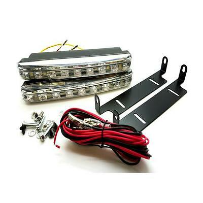 2 x 16cm 8 SMD Daytime LED DRL With Amber Indicator 6000k White - VW cars