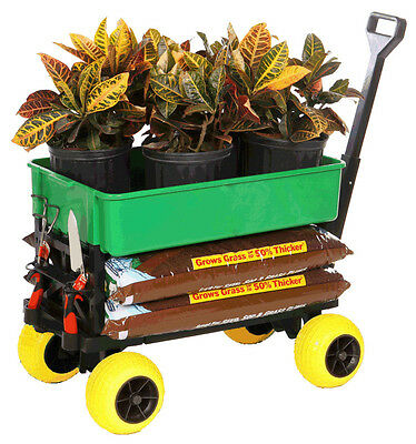 Flatbed 4 Wheel Cart Garden Seat Lawn Yard Carts and Wagons Beach Kart Fishing