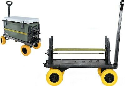 Flatbed 4 Wheel Cart Dolly Platform Beach Carts Hand Pull Wagon Indoor Outdoor