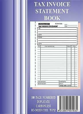 5x 100 Page A5 Tax Invoice / Statement Book Carbonless in duplicate
