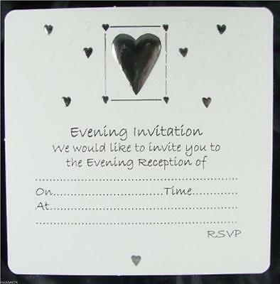 30 White Wedding Evening Invitations Silver Embossed Heart Design Envelopes