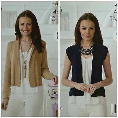 KNITTING PATTERN Ladies Easy Knit Cardigan and Waistcoat Cotton 4ply 4498