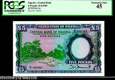 "NIGERIA P5a ""RIVER SCENE"" 5 POUNDS 1958 PCGS 55! FINEST KNOWN PCGS! RARE!"