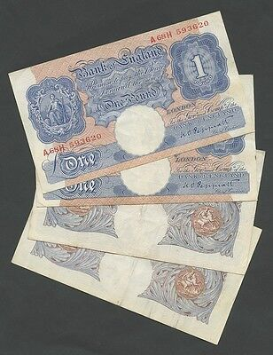 BANK OF ENGLAND - £1  Peppiatt  (Blue) WWII - DIFFERENT GRADES - ( Banknotes )