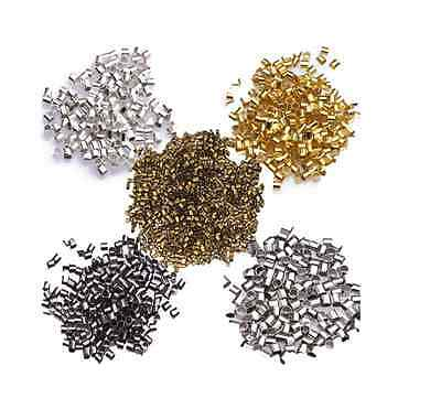 Wholesale 500/1000pcs Silver Plated/Golden Tube Bead Crimp End Spacer Beads 2mm