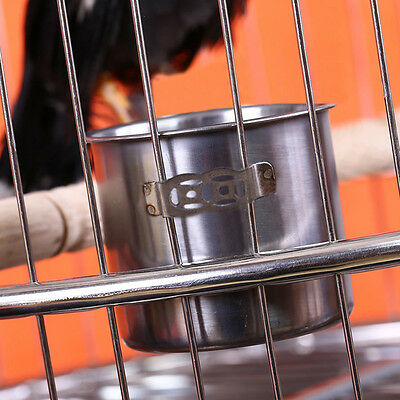 Crates Squirrels Parrot Bird Cage Feeder Pet Stainless Steel Food Water Bowl Cup