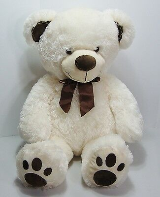 "DanDee 30"" Huge Giant Soft Plush Teddy Bear White Brown Bow Stuffed Animal Toy"