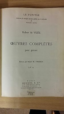Oevres Completes Pour Guitar By Robert De Visee: Music Score (A1)