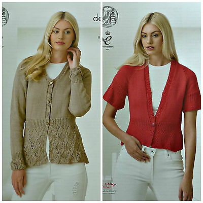 KNITTING PATTERN Ladies Long Sleeve V-Neck Lace Skirt Cardigan Cotton DK 4345