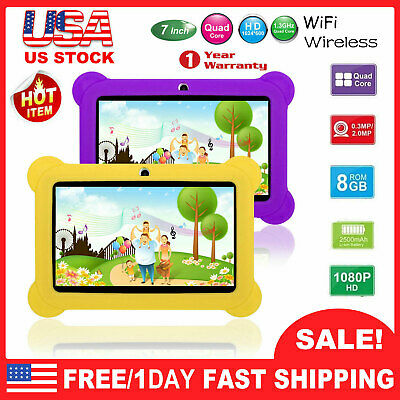 7'' Kid's Quad Core Tablet PC Android 8.1 A33 8GB HD Dual Cam WiFi Case Bundle