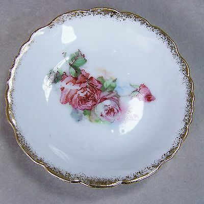 "Antique 3"" Porcelain Butter Pat Pink Roses Gold Spray Scalloped Edge Embossed"