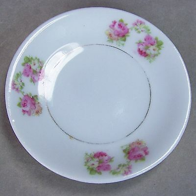 Antique 3.25 Porcelain Butter Pat Dish Gold Pink Roses Green Leaves