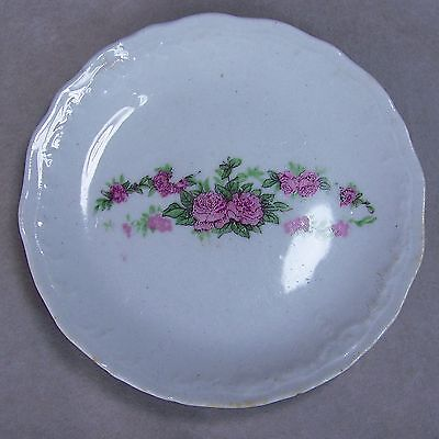 """Antique 3.25"""" Porcelain Pink Roses Embossed Ware Scallop Edges Butter Pat Dish"""