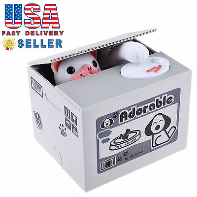 Automated Adorable Dog Stealing Coin Piggy Bank Money Saving Box Itazura Gift