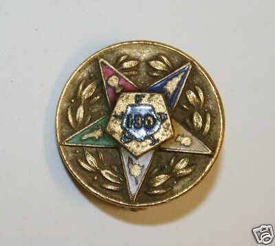"Vintage Order of the Eastern Star OES Lapel Pin 10k GF ""130"" OES"