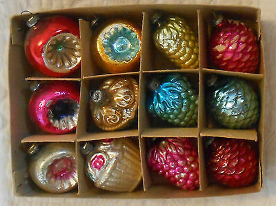 Box 12 Antique MERCURY GLASS CHRISTMAS ORNAMENTS Feather Tree PINE CONES GRAPES+