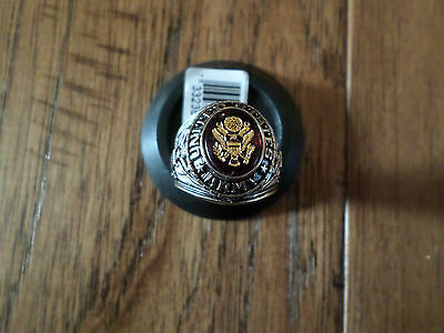 U.s Army Military Rhodium Ring Ruby Crystal Inlay U.s.a Made Size 13