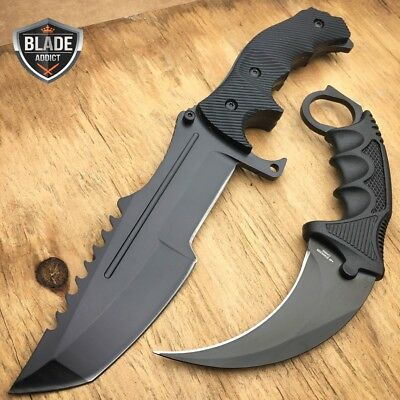 2 PC BLACK TACTICAL COUNTER-STRIKE CSGO HUNTSMAN KNIFE Hunting CS:GO + KARAMBIT