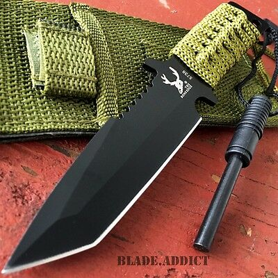 "7"" HUNTING TANTO FIXED BLADE KNIFE w/ FIRE STARTER Tactical Survival Military"