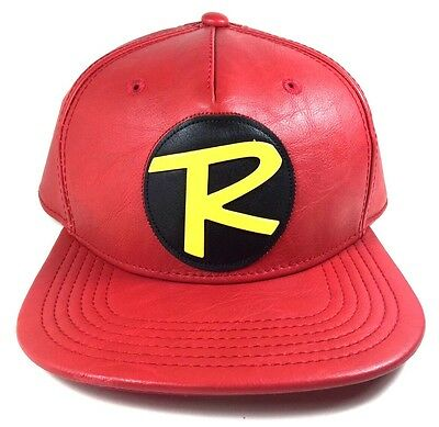 Dc Comics Robin Logo Red Faux Leather Pu Costume Suit Up Snapback Hat Cap Batman