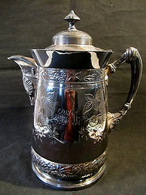 Antique Victorian Repousse Quadruple Silver Plate Simpson Hall Pitcher Tankard