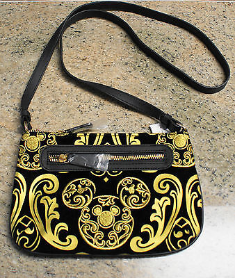 NWT Disney Parks MICKEY Brocade Black & Gold Crossbody Bag Handbag