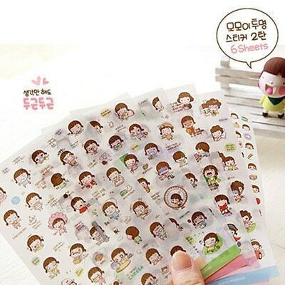 Cute 6 Sheet Cartoon Girl Calendar Diary Planner Sticker Biscuit Scrapbook CA