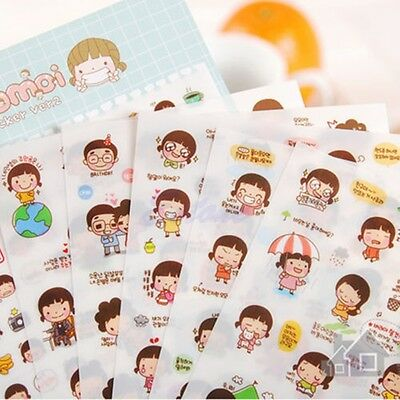 6 Sheets Cartoon Girl Planner Diary Stickers Biscuits Scrapbook Calendar Tags CA