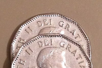 ^^ 1953 ^^ - 5 Cent - Canadian Nickels - Two different Varieties SF / NSF