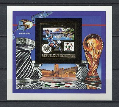 s6341) GUINEA 1990 MNH** WC Football'90- CM Calcio S/S GOLD IMPERF.