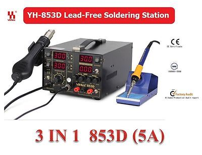 YIHUA 3in1 Soldering Station SMD Rework Iron Hot Air Gun DC Power Supply 853D 5A