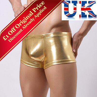 Mens Sexy Shiny Gold Boxers **Medium & Large**UK Seller**