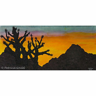 """Joshua Tree Sunset, painted silk landscape - 18"""" x 32"""" matted, ready to frame"""