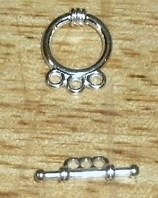 20 -Silver 3 strand Toggle Clasps-15mm+FREE-50 matching earring hooks   (2C9)
