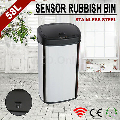 58L Stainless Steel Automatic Infrared Motion Sensor Rubbish Bin Kitchen Office