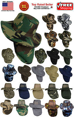 738c658d1e0 Boonie Hat Fishing Army Military Hiking Snap Brim Neck Cover Bucket Sun  Flap Cap