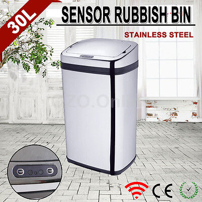 30L Stainless Steel Automatic Infrared Motion Sensor Rubbish Bin Kitchen Office