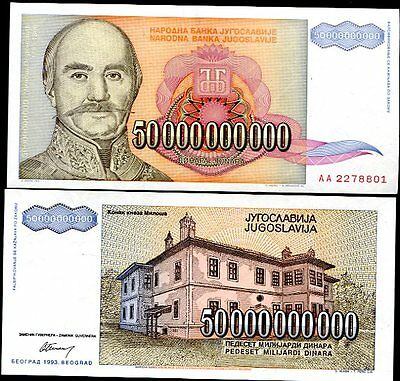 Yugoslavia 50 Billion Dinars 1993 P 136 Unc