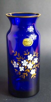 Beautiful Cobalt Blue Bohemian Flower Vase Art Glass Hand Paint Gold Trim